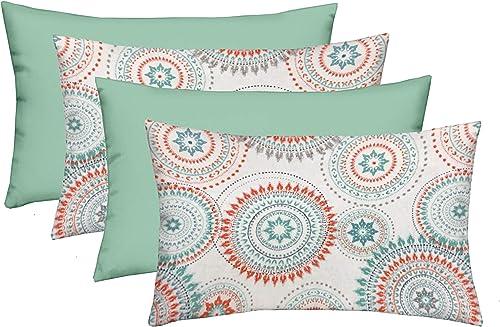 RSH D cor Indoor Outdoor Blue Mix Set of 4-20 x 12 Lumbar Pillow Set Weather Resistant – Choose Color White Spa Coral Bohemian Sundial Spa Blue Mixed Lumbar Set