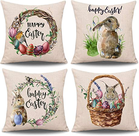 Whaline 4 Pieces Easter Pillow Case Rabbit Bunnies With Eggs Pillow Cover Spring Season S Cotton Linen Sofa Bed Throw Cushion Cover Decoration 18 X 18 Amazon Co Uk Kitchen Home