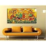 Tamatina Kerala Mural Canvas Paintings - Vishnu Avatar - Sri Krishna - Traditional Canvas Paintings - 5ft x 2.5 ft. (152 x 76 cms) - Paintings for Living Room - Paintings for Bedroom