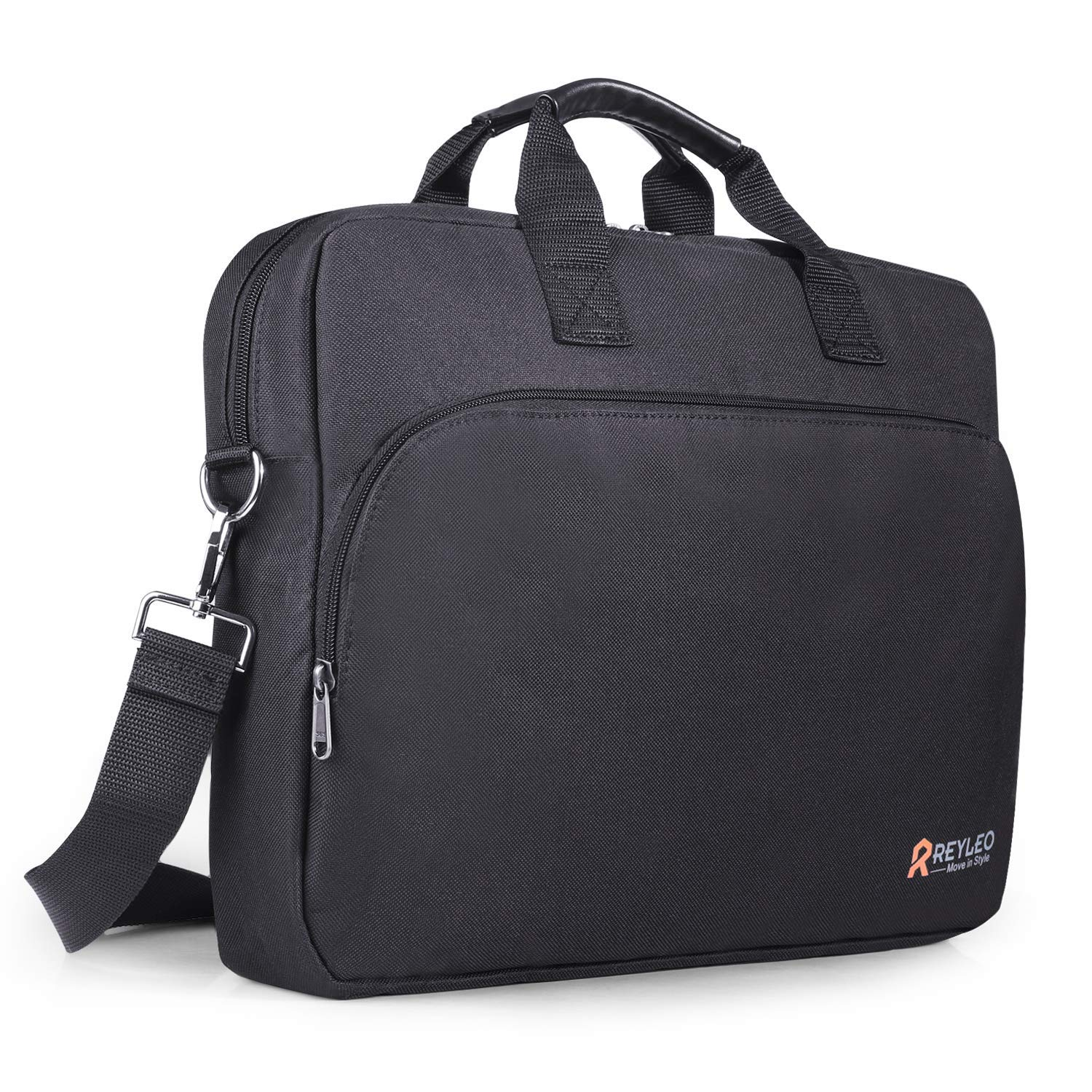 REYLEO 15.6 Inch Laptop Bag Travel Briefcase with Luggage Strap Water Resistant Shoulder Bag Business Messenger Briefcases for Men and Women Fits Laptop Computer Tablet, LCB1B by REYLEO (Image #1)