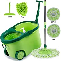 Smile mom Magic Spin Mop with Bucket Set with Big Wheels for Best 360 Degree Easy Floor Cleaning; 2 Refill Head; Microfiber Glove + Kitchen Wiper (Green)