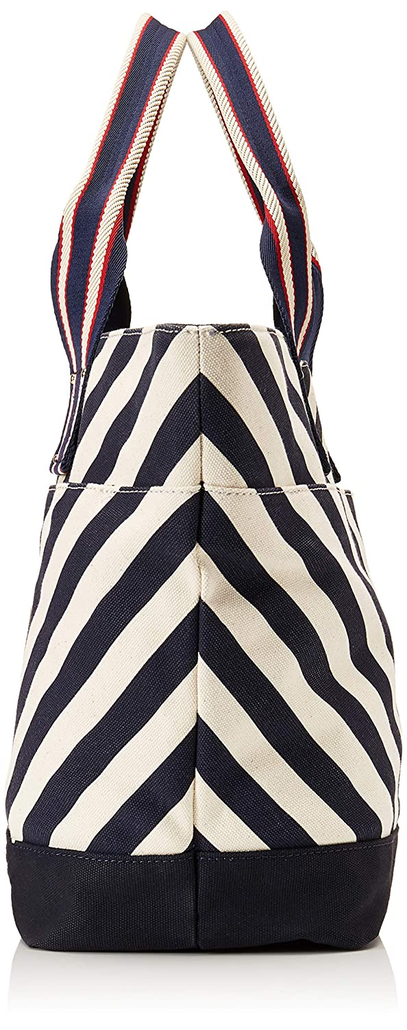 e2c420de3c5 Amazon.com: Tommy Hilfiger Women's Classic Tommy Chevron Canvas Tote  Navy/Natural One Size: Shoes