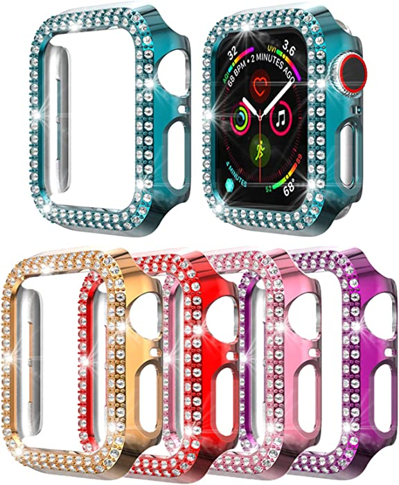5 Pack Bling Case Compatible with Apple Watch Series 3/2/1 PC Diamonds Bumper Face Cover for iwatch 42mm (5-Pack Rose, 42mm)