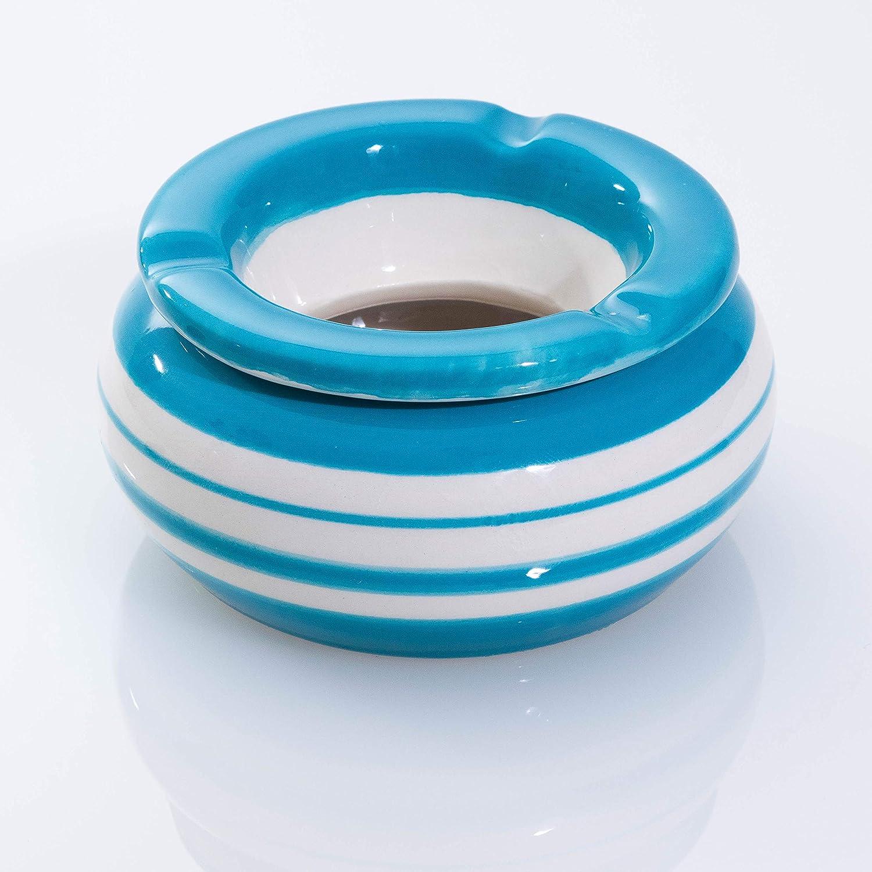 MySmoke24 Cendrier Vert//Jaune//Blanc Bleu//Blanc