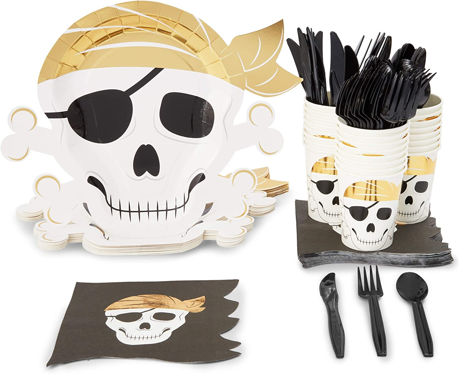 Pirate Party Pack, Includes Plates, Napkins, Cups, and Cutlery (Serves 24, 144 Pieces)