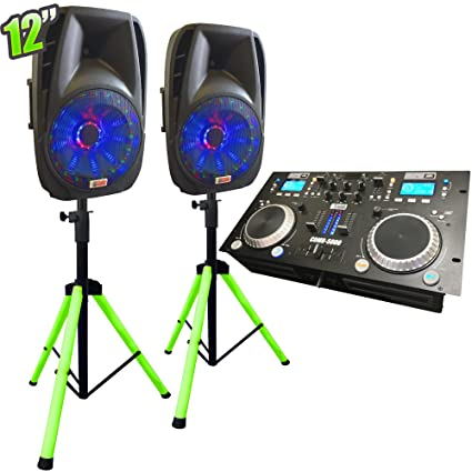 amazon com 12 inch lighted dj system with stands adkins