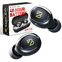 Duet 50 Bluetooth 5.0 Wireless Earbuds - [Featured in Rolling Stone, Forbes] 40 Hour Long Battery Life w/Charging Case. Sweatproof Truly Wireless APTX Headphones for Running. TWS Microphone for Calls