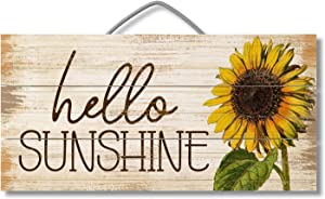 Hello Sunshine Custom Wood Signs Design Hanging Gift Decor for Home Coffee House Bar 5 x 10 Inch