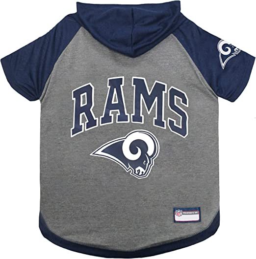 NFL Los Angeles RAMS Hoodie for Dogs & Cats. | NFL Football Licensed Dog Hoody Tee Shirt, X-Small| Sports Hoody T-Shirt for Pets | Licensed Sporty Dog Shirt.