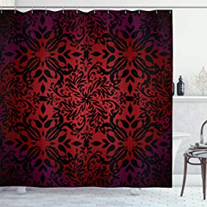 Ambesonne Red and Black Shower Curtain, Mandala Oriental Design Flowers and Leaves Frame Image, Cloth Fabric Bathroom Decor Set with Hooks, 70