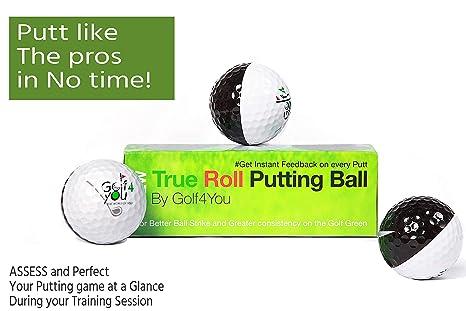 Set de 3 Pelotas de práctica de Golf | Ayudas de Entrenamiento de Golf - True Roll Putting Ball - Mejora de alineación, Accesorios de Golf. Te enseña ...
