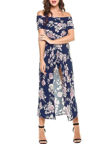 1a889c09032c Elever Women Floral Off Shoulder Beach High Low Split Hem Dress Romper  Jumpsuit at Amazon Women s Clothing store