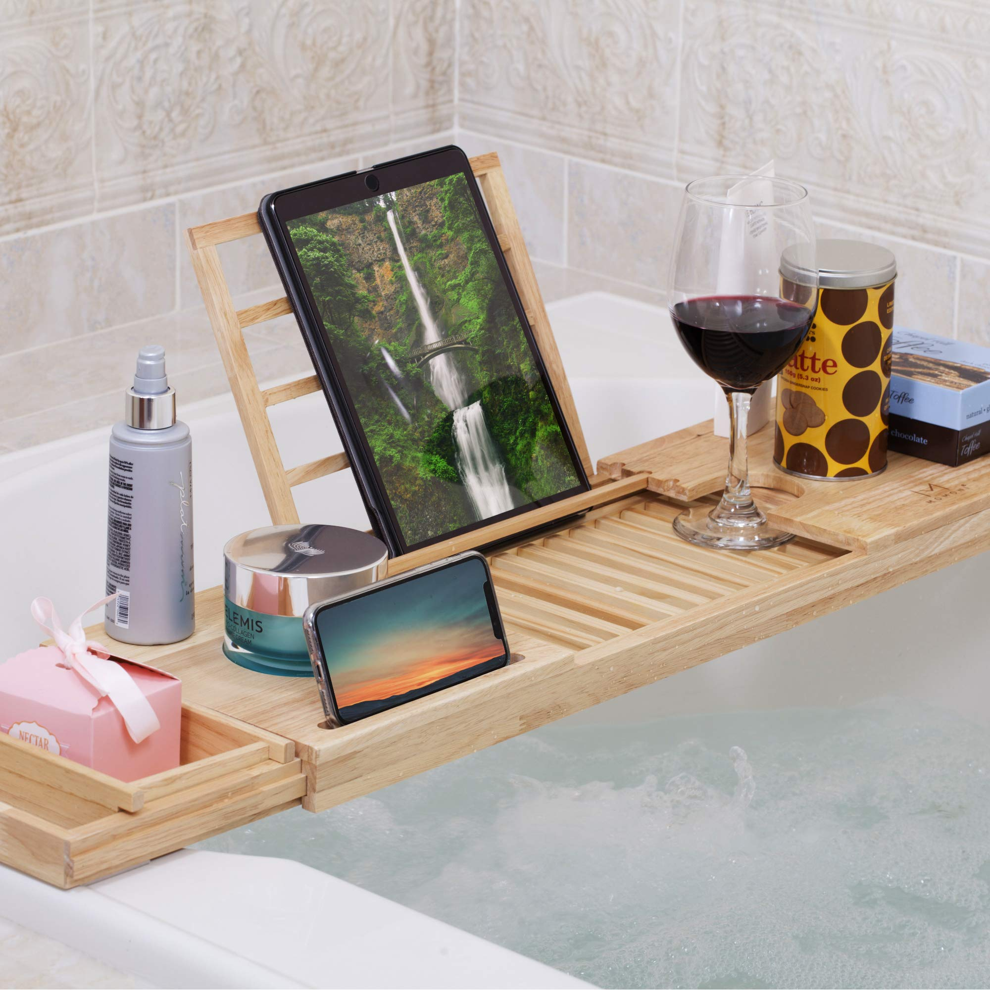 MOMONI Premium Luxury Wood Bathtub Caddy Tray with Expandable Side Holders Non Slip Bathtub Bed and Bath Table Tray with Book, Tablet, Cellphone Holder Him and Her Gift Idea