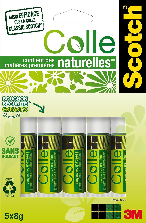 Scotch Lot de 5 Bâtons de Colle naturelle à Base de Matières premières renouvelables 8 g 6500C Bâtons de Colle