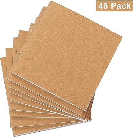 Belle Vous Cuadernos de Notas Kraft (Pack de 48) - (10,5x10,7cm) Block de Notas sin Líneas - 120GSM 24 Hojas Cubierta Kraft Marrón Bloc de Dibujo Ecológico Uso Escolar, Proyecto Escritura, Viaje: