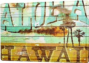 LEotiE SINCE 2004 M.A. Allen Retro Tin Sign Metal Plate Decorative Sign Home Decor Plaques U.S. Deco Aloha Hawaii Surfing dream island 20x30 cm Large Metal Wall Decoration Vintage Retro Classic Plaque