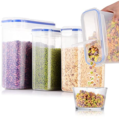 FAN Cereal Storage Containers [Set Of 4] Air Tight Food Storage