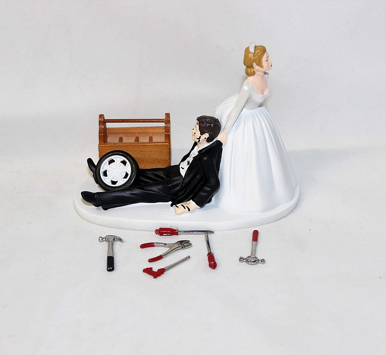 Wedding Reception Race Car Truck Mechanic Tools Grease Shop Garage Cake Topper