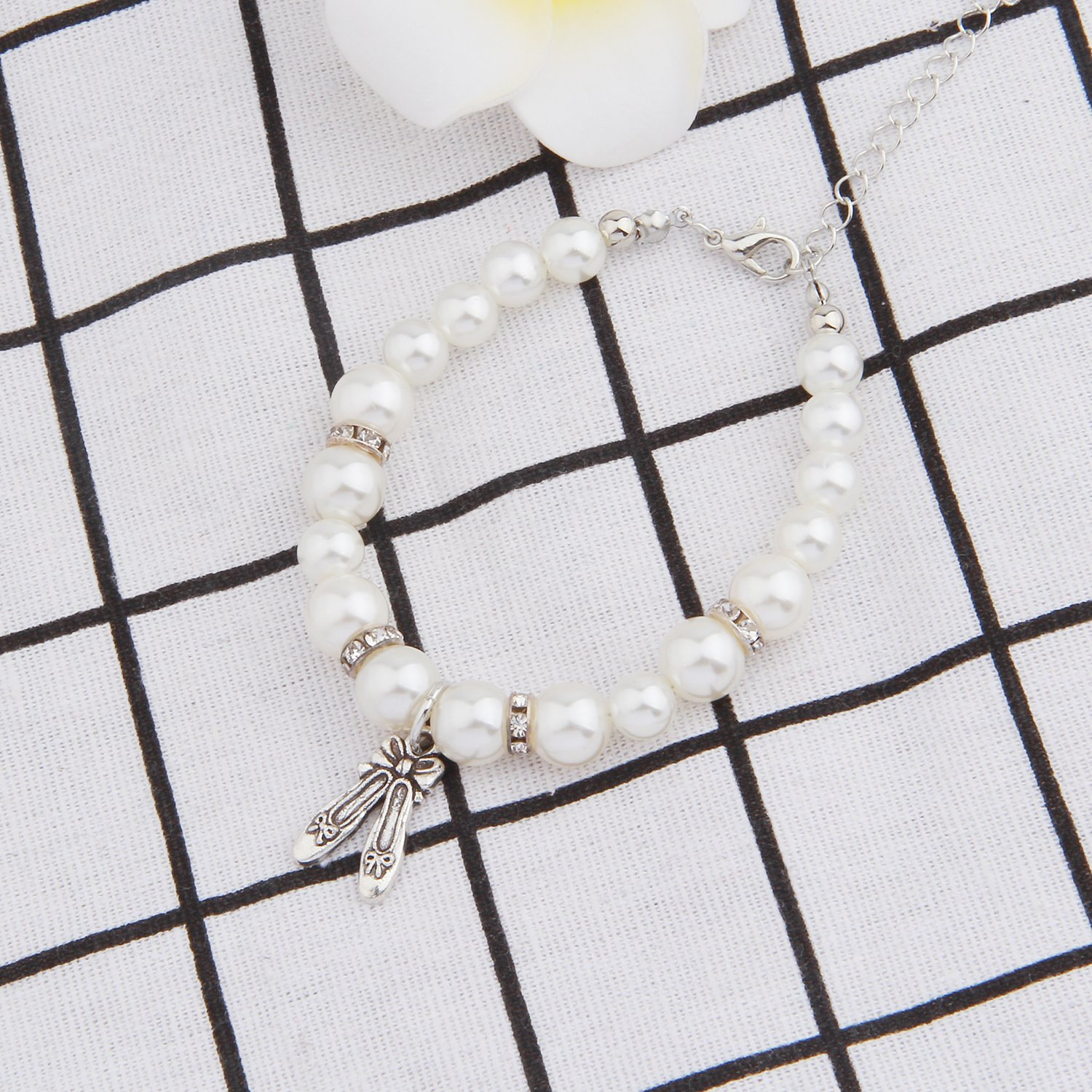 ENSIANTH Dance Lover Gift Pearl Bracelet Girl Dance Jewelry With Dancing Shose Dance Recital Gift