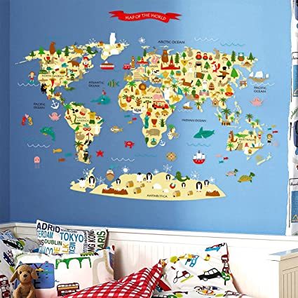 Amazon homeevolution removable kids educational animal large homeevolution removable kids educational animal large world map peel stick wall decals stickers home decor gumiabroncs Images