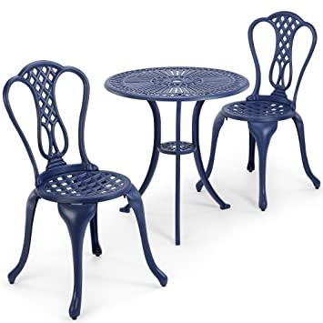 Vonhaus fonte d\'aluminium Table de bistrot - Denim Bleu Ensemble ...
