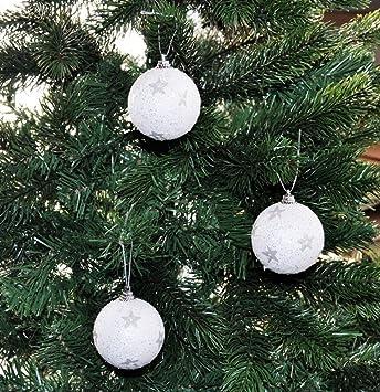Weiß Christbaumkugeln Kunststoff.Kaemingk 12x Glitzer Weihnachtskugeln 6cm Weiß Sterne Kunststoff