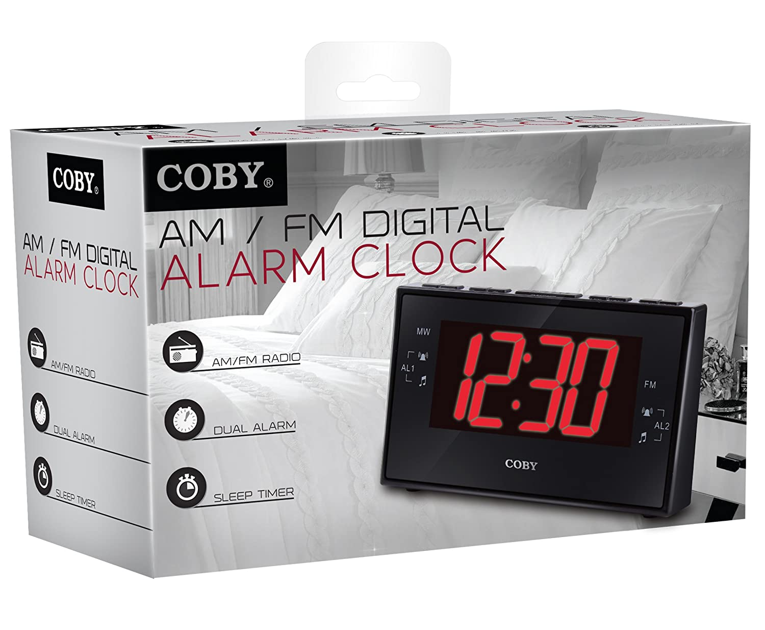 Coby CBCR-102-BLK Digital Alarm Clock with AM/FM Radio and Dual Alarm (Black)