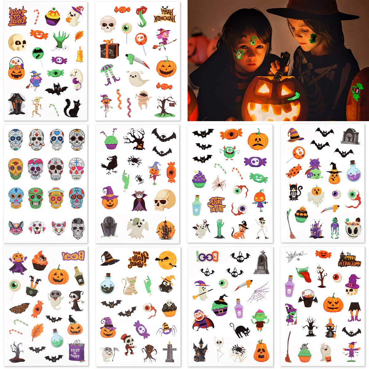 Temporary Tattoos Kids Halloween Tattoos Glow in the Dark Tattoos for Halloween Party Supplies 10 Sheets (187PCs Patterns)