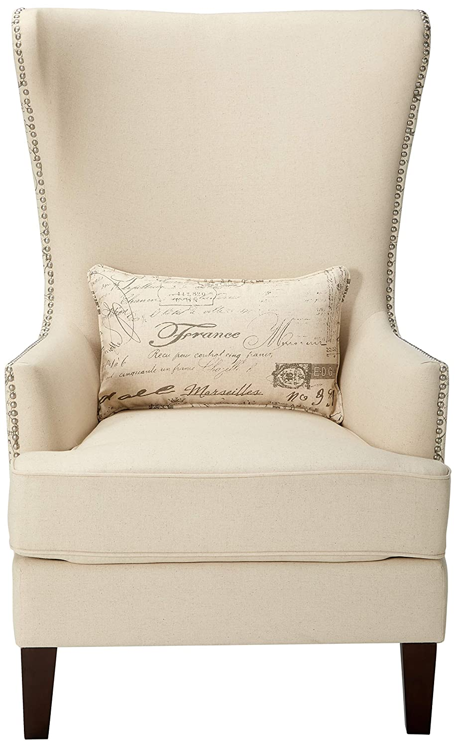 Coaster Home Furnishings 904047 Coaster Traditional Cream Winged Accent Chair with Script Back, 33.5x30.5x48, Brown