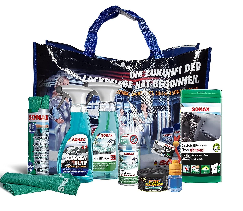 8 piezas, Sonax Limpieza igungs, aroma del paquete, Starter de paquete (plástico Cuidado paños, transparente, paños de microfibra, ciudadores cabina, ...
