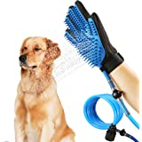Cysmile Pet Bathing Tool, Multi-Functional Pet Grooming Bath Massager,Pet Shower Sprayer and Grooming Glove with 3 Faucet Adapters for Dog Cat Horse Indoor and Outdoor Use