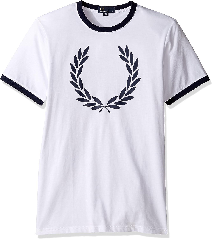 Fred Perry - Fred Perry camiseta blanco con el laurel y el cuello ...