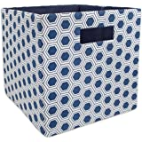 """DII Foldable Fabric Storage Container for Nurseries, Offices, Closets, Home Décor, Cube Organizer & Everyday Use, 11 x 11 x 11"""", Nautical Blue Honeycomb"""