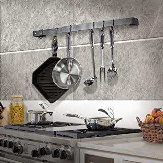 """product image for Handcrafted 36"""" Utensil Bar w 6 Hooks Hammered Steel"""