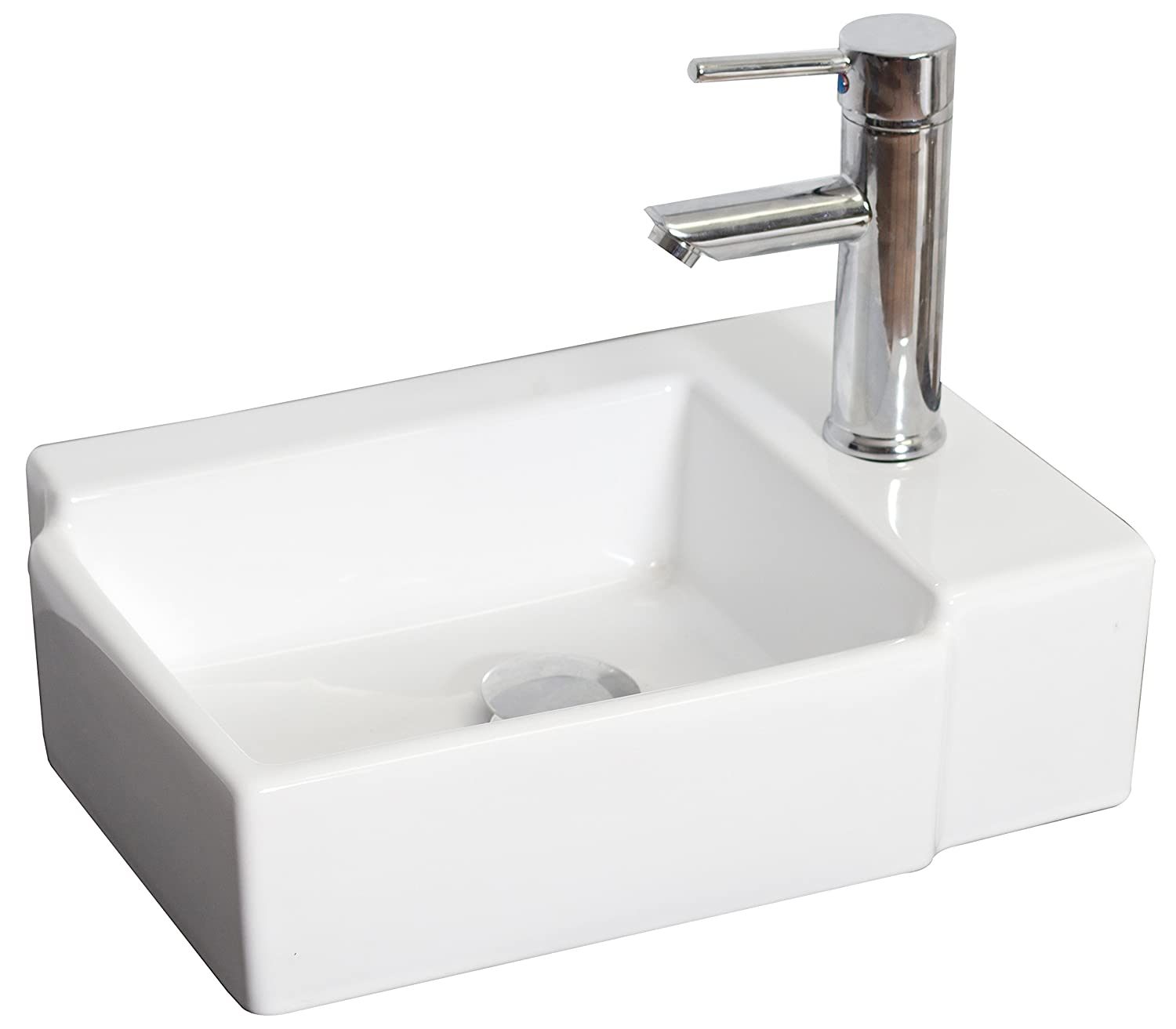 American Imaginations AI-7-1307 Wall Mount Rectangle Vessel for Single Hole Faucet, 16.25-Inch x 12-Inch, White IMG Imports Inc.