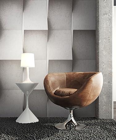 Steintapete Vinyl Grau Modern   schöne edle Tapete im Steinmauer Design    moderne 3D Optik für Wohnzimmer, Schlafzimmer oder Küche inkl. ...