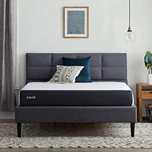 Lucid 8 Inch Gel Memory Foam Mattress – Firm Feel – Gel Infusion – Hypoallergenic Bamboo Charcoal – Breathable Cover