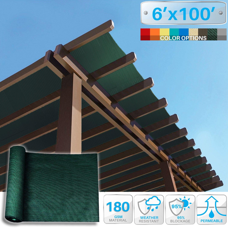 Patio Paradise 6' x 100' Sunblock Shade Cloth Roll,Dark Green Sun Shade Fabric 95% UV Resistant Mesh Netting Cover for Outdoor,Backyard,Garden,Plant,Greenhouse,Barn