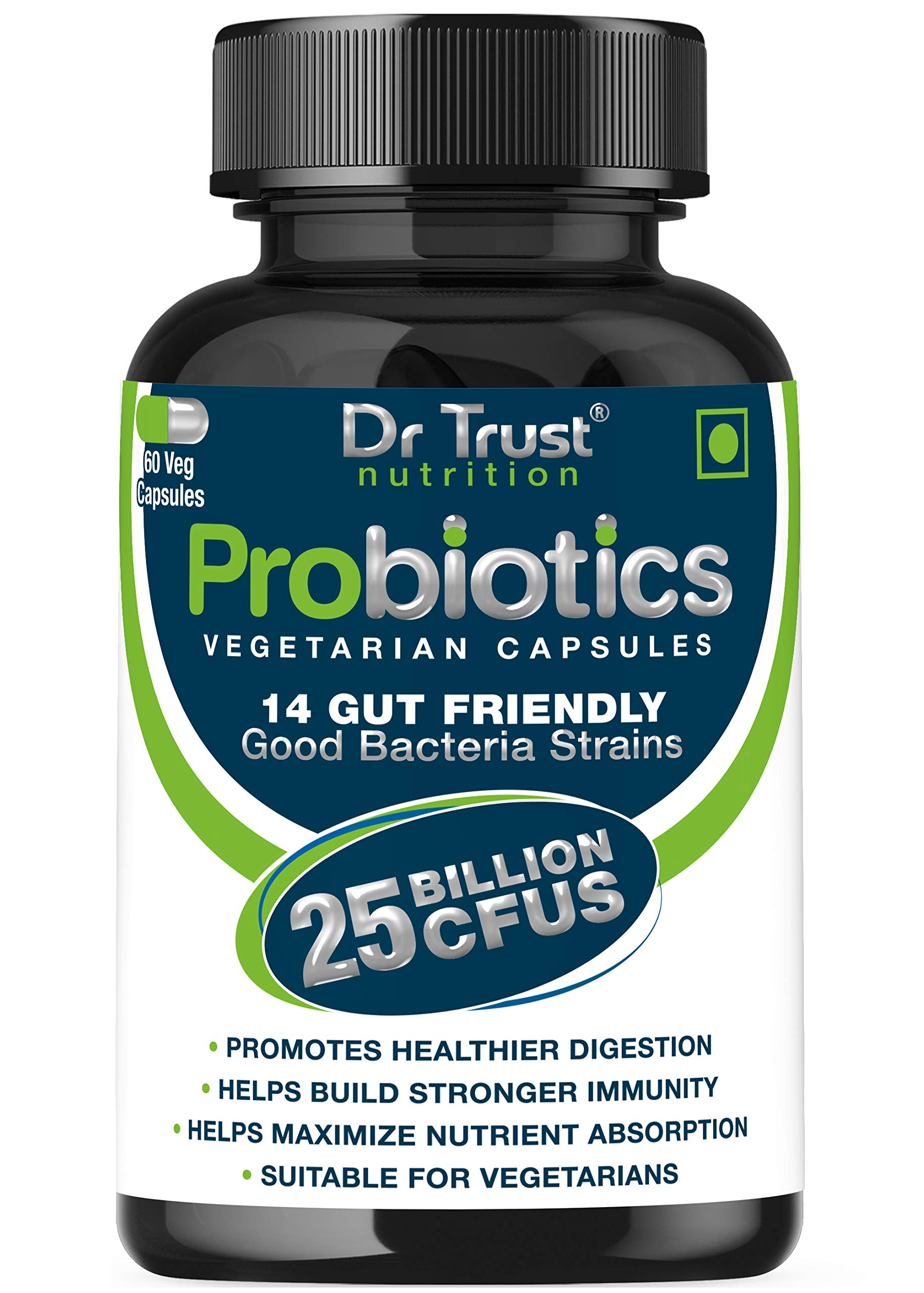 Dr Trust (USA) Advanced Probiotics blend Digestive Enzymes 100% Natural 60 Vegetarian Support Supplements Capsules With Added 25 Billion CFUS for Healthy Stomach Digestion men and women