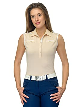 JELFY Angelica Golf Mujer Polo sin Mangas 100% Pima de algodón ...