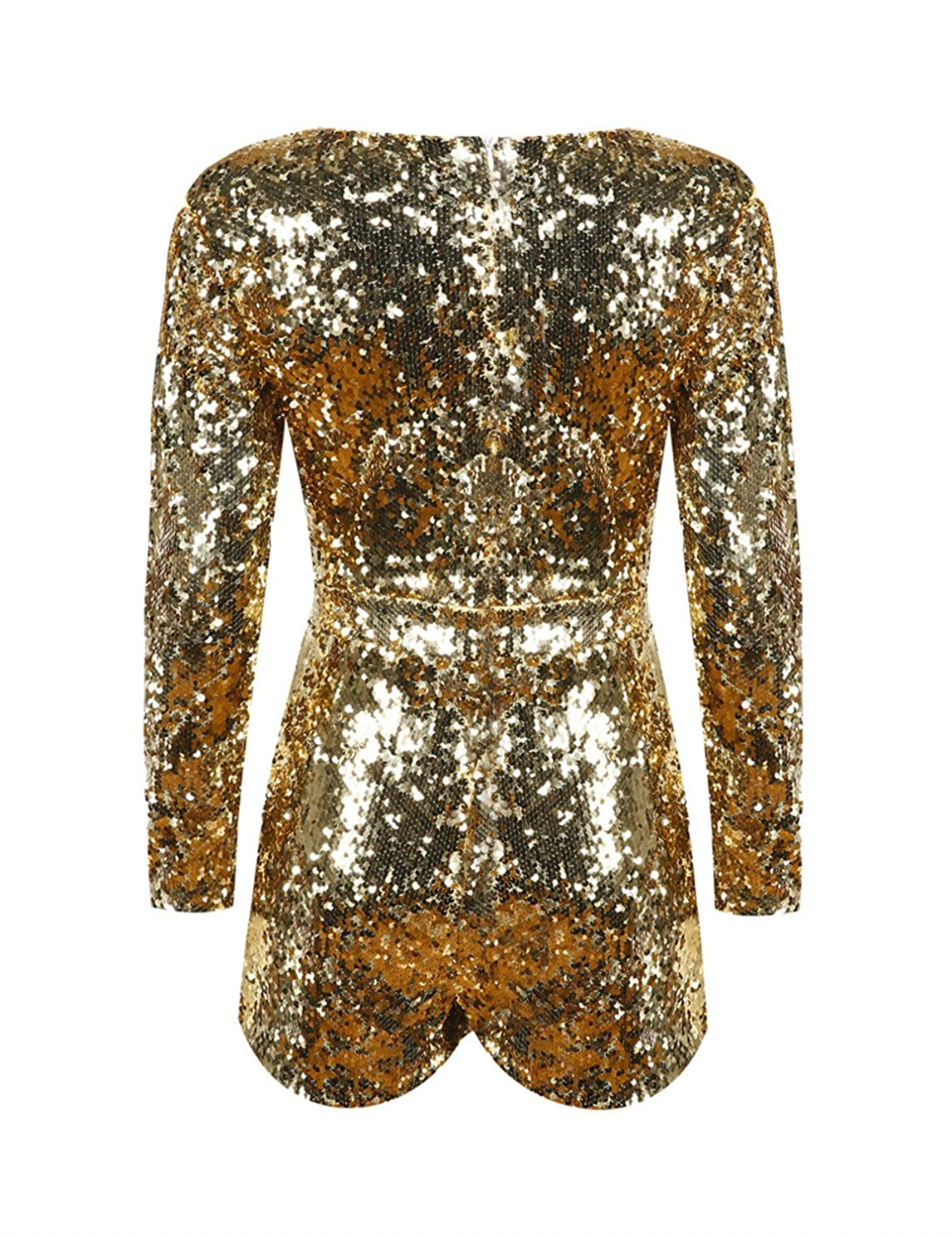 b547c09dd3 Richlulu Womens Sparkly Sequin Plunge V Neck Party Star Romper Jumpsuit  (X-Large