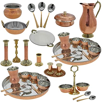 Amazon Com Indian Traditional Copper Dinner Set Wedding Gift For