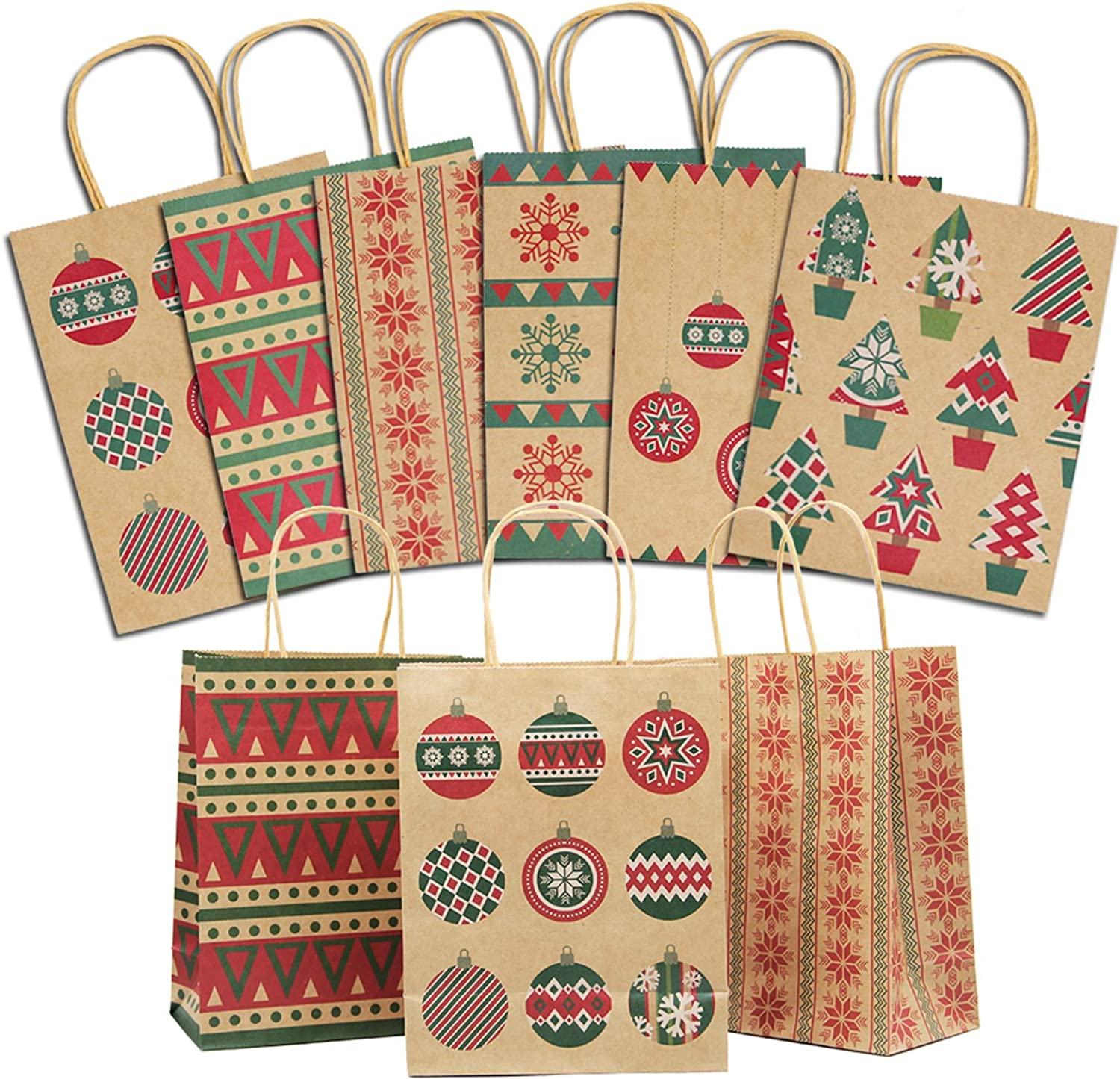 Lulu Home Christmas Paper Gift Bags with Handle, 24 Pieces Medium Christmas Kraft Paper Bags with Handle, Assorted Christmas Prints for Party Favors