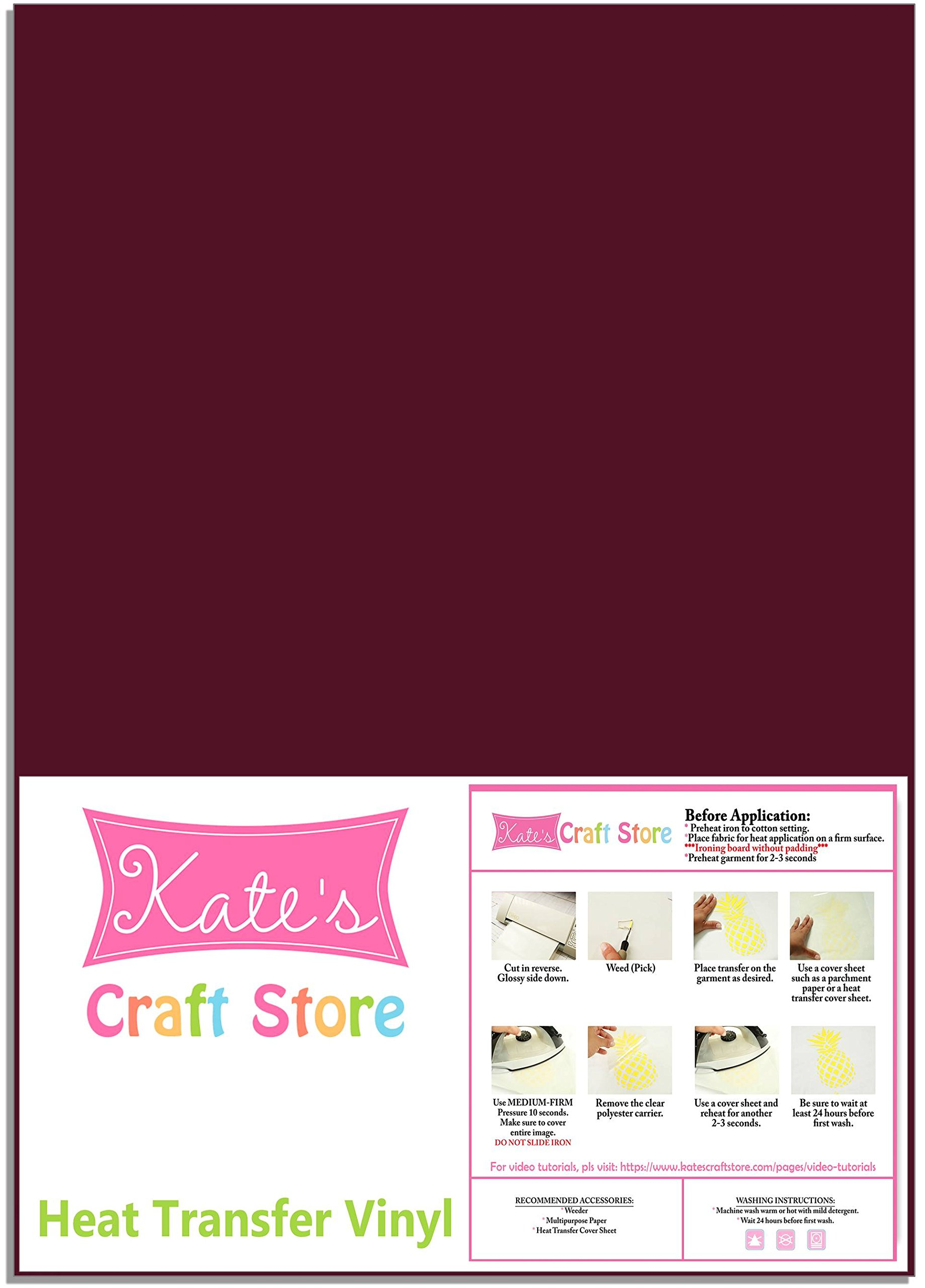 Three (3) 12'' x 15'' Sheets of Siser Easyweed Heat Transfer Vinyl (HTV) (Maroon) by Kate's Craft Store