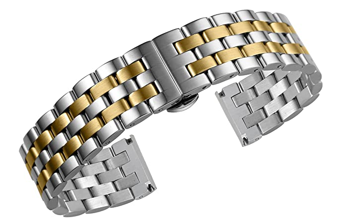 80af033a141 Image Unavailable. Image not available for. Colour  22mm Men s Jubilee  Style Two Tone Silver gold Metal Watch Bands Straps ...