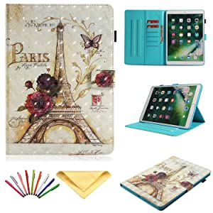 """Uliking Case for Apple iPad Air 3 Case 10.5"""" 2019, iPad Pro 10.5"""" 2017 Cover, PU Leather TPU Shell Stand Folio Magnet Wallet with Pencil Holder Card Slots Pocket [Auto Sleep/Wake], Paris Eiffel Tower"""