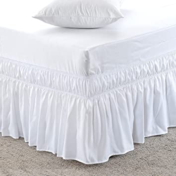 US Bedding Us Bedding Eay Fit Elastic Wrap Around Ruffled Bed Skirt Egyptian Cotton 300 Thread Count(White, Cal Queen, Drop Length 18 Inches)