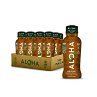 ALOHA Organic Plant Based Iced Coffee Protein Shake w/MCT Oil (12ct, 12oz Bottle) 20g Protein, Meal Replacement, Low Sugar & Carb, Gluten-Free, Paleo, Non-GMO, No Soy, Stevia or Sugar Alcohol…