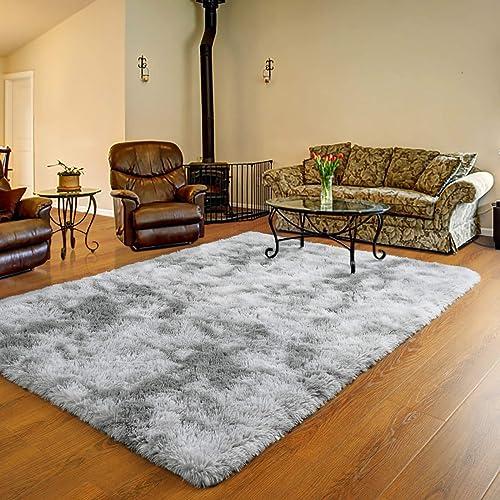 Ucomn Luxury Velvet Shag Area Rug Soft Modern Fluffy Fur Rugs,Premium Geometric Moroccan Floor Rug