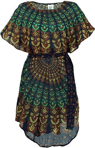 Guru-Shop, Mandala Mini Vestido Túnica con Cinturón, Viscosa, Túnicas